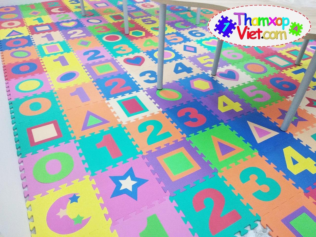 Thảm ghép cho bé hình chữ số nhiều màu sắc